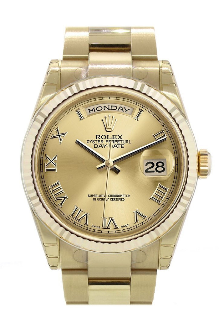 Rolex Day-Date 36 Champagne-colour Dial Fluted Bezel Yellow Gold Watch 118238