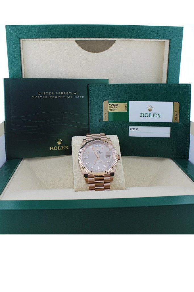 Rolex Day-Date 40 Sundust 10 Baguette-Cut Fluted Dial Diamond Bezel 18K Everose Gold President