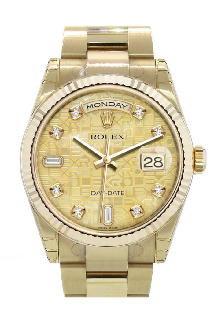 Rolex Day-Date 36 Champagne colour mother of pearl Jubilee design set with diamondsDial Fluted Beze  Yellow Gold Watch 118238