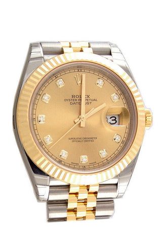 Rolex 126333 Datejust 41 Champagne Diamonds Yellow Gold | WatchGuyNYC