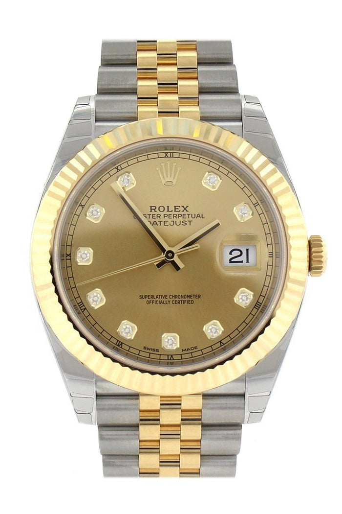 Rolex Datejust 41 Champagne Diamonds Steel And 18k Yellow Gold Men's Watch 126333
