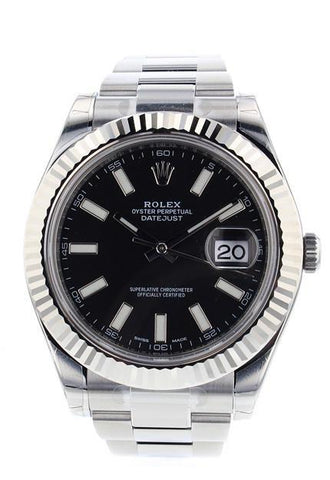ROLEX Datejust II 41 Black Dial Steel Men's Watch 116334