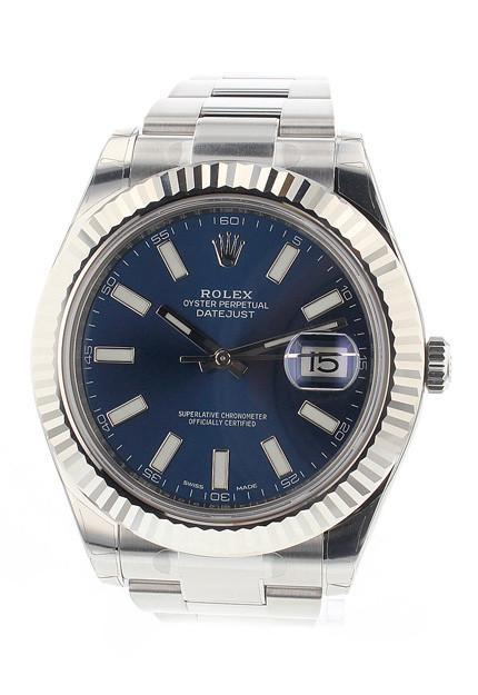 Rolex Datejust Ii 41 Blue Dial 18K White Gold Fluted Bezel Steel Mens Watch 116334