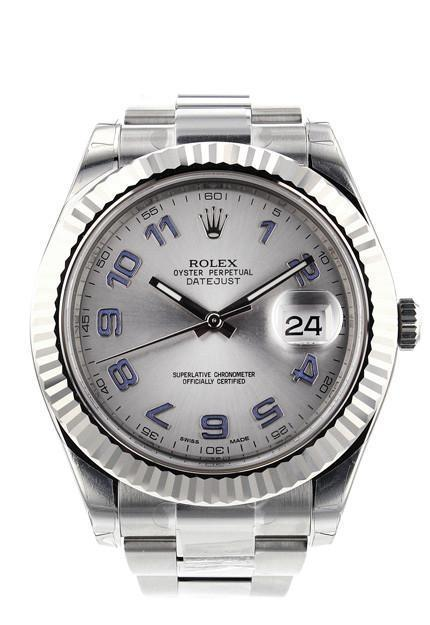 Rolex Datejust Ii 41 Grey Arabic Dial 18Kt White Gold Fluted Bezel Mens Watch 116334 Rhodium / None