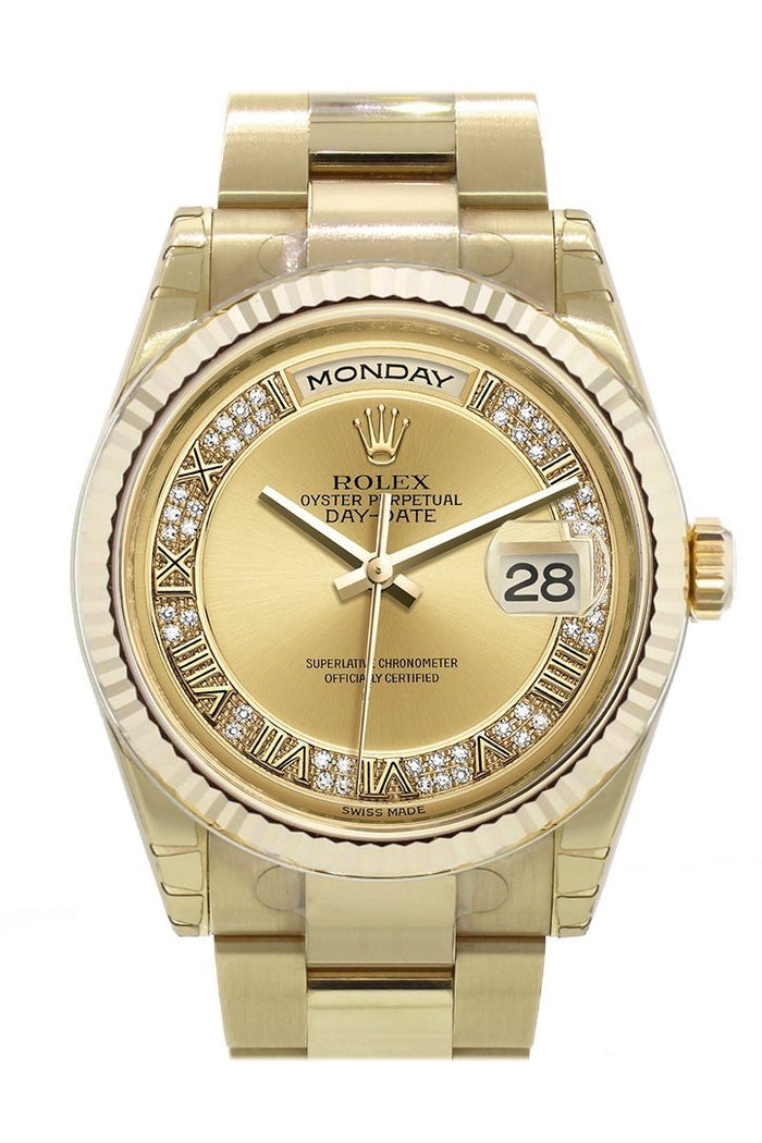 Rolex Day-Date 36 Champagne-colour set with diamonds Dial Fluted Bezel Yellow Gold Watch 118238