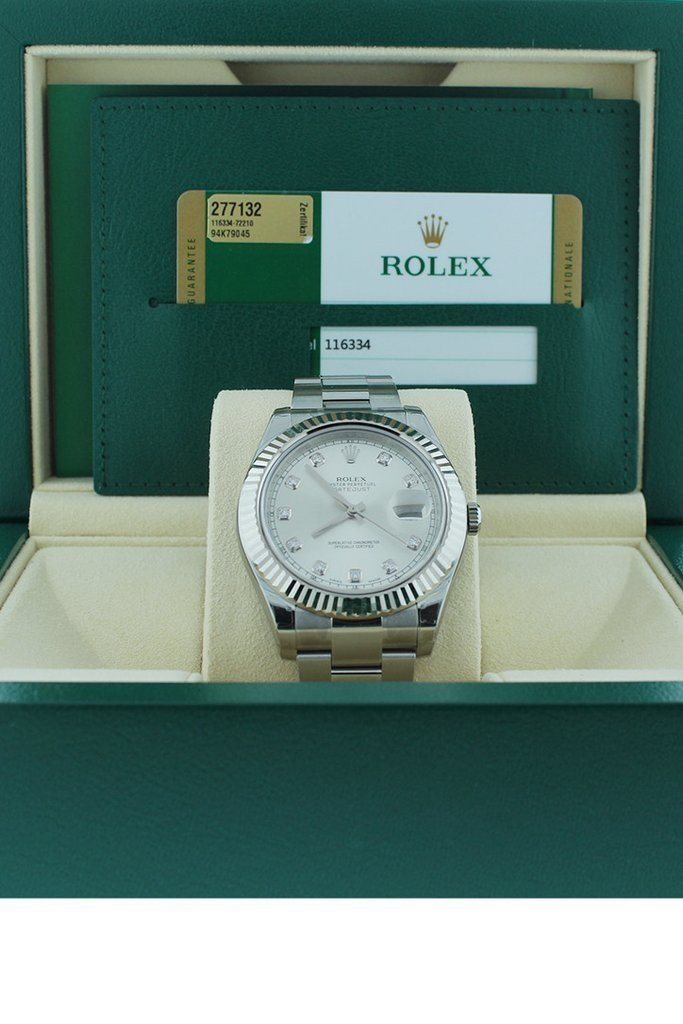ROLEX Datejust II 41 Steel Silver Diamond Dial 18kt White Gold Fluted Bezel Men's Watch 116334