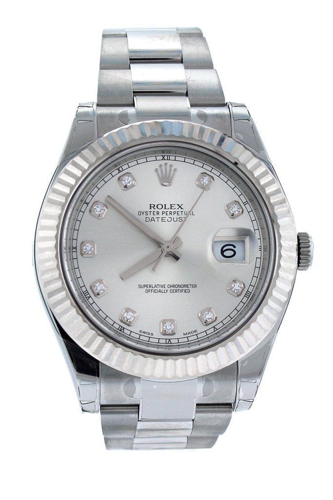 Rolex Datejust Ii 41 Steel Silver Diamond Dial 18Kt White Gold Fluted Bezel Mens Watch 116334