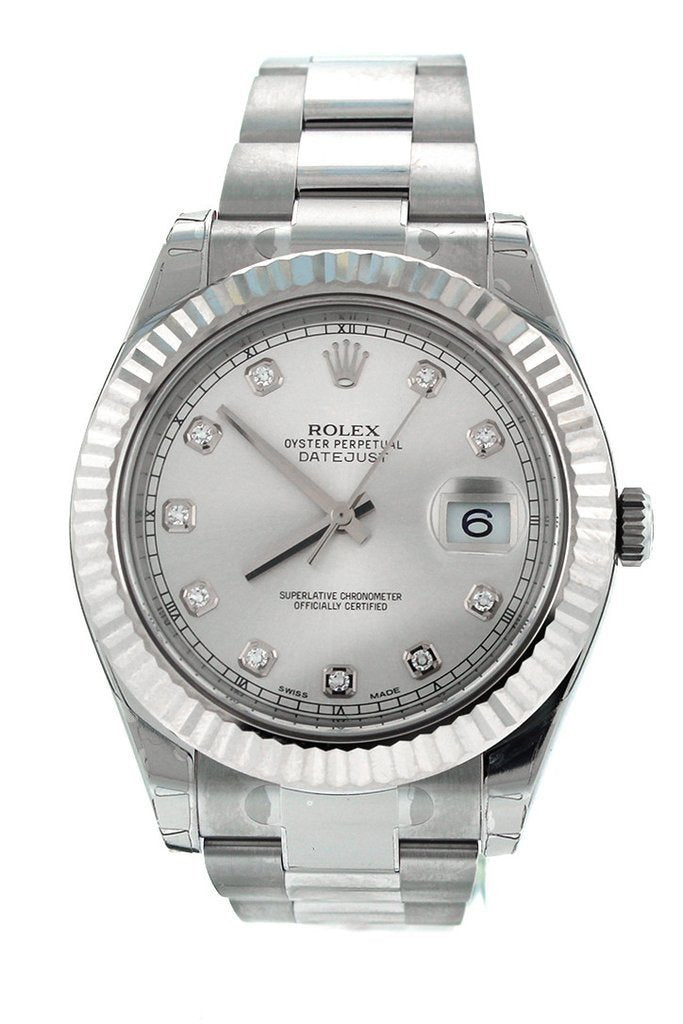 ROLEX 116334 Datejust II 41 Steel Silver Diamond Dial Men's Watch | WaROLEX Datejust II 41 Steel Silver Diamond Dial Fluted 18kt White Gold Bezel Men's Watch 116334