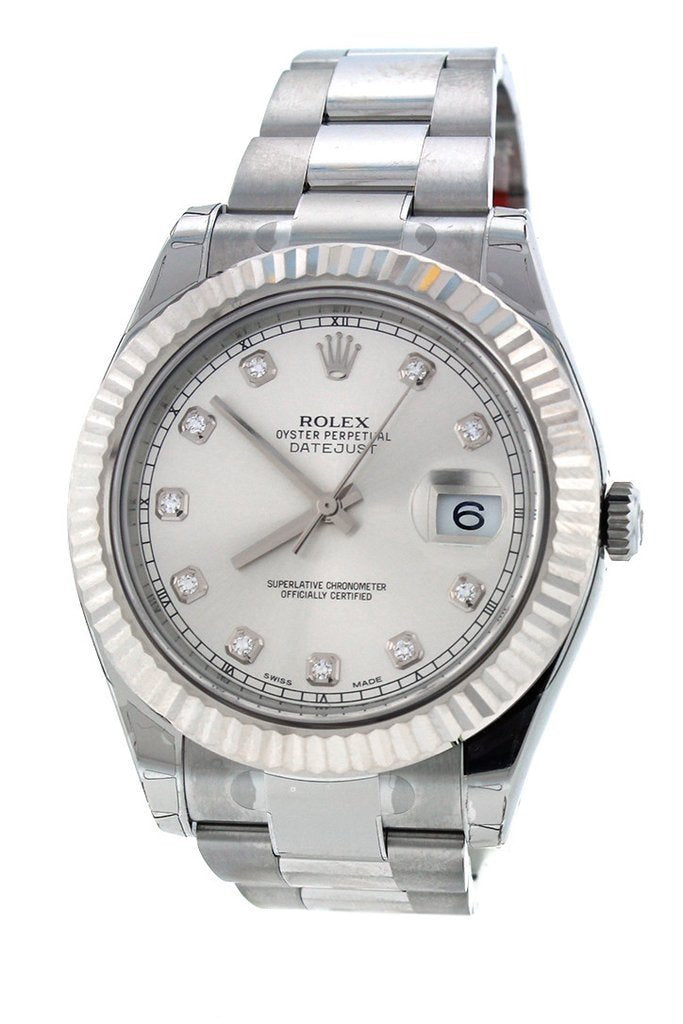 ROLEX 116334 Datejust II 41 Steel Silver Diamond Dial Men's Watch | Wa