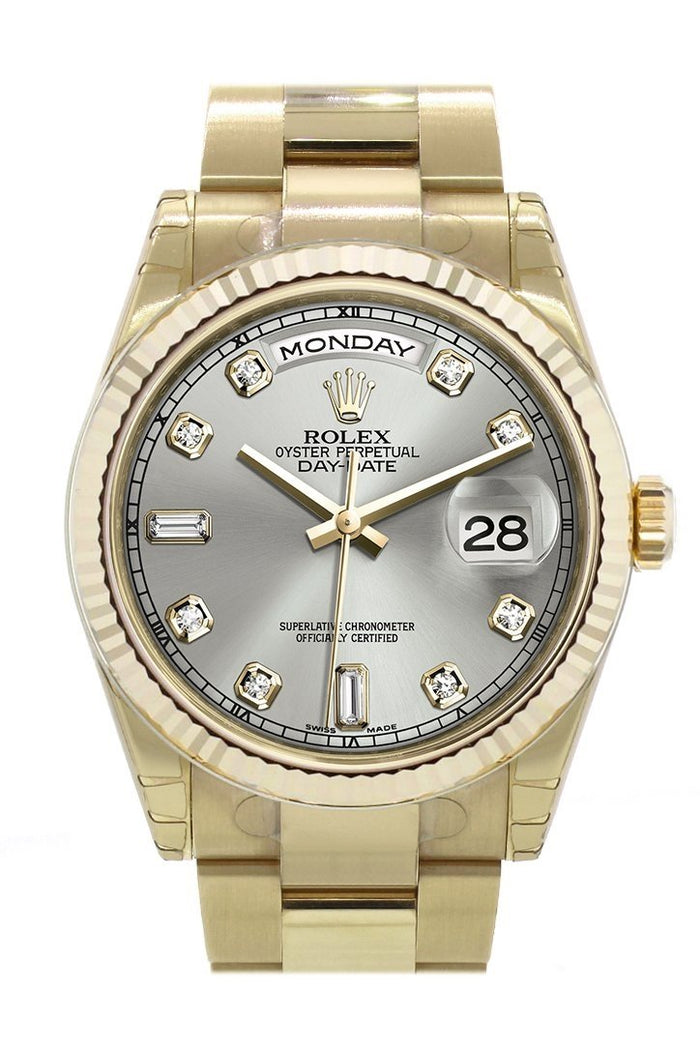 Rolex Day-Date 36 Silver set with diamonds Dial Fluted Bezel Yellow Gold Watch 118238