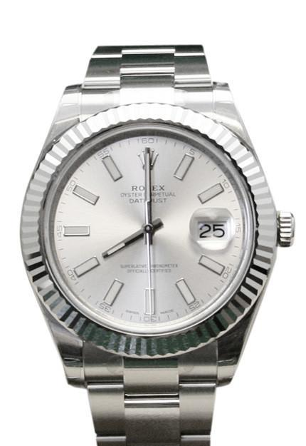 Rolex Datejust Ii 41 Silver Dial 18Kt White Gold Fluted Bezel Mens Watch 116334