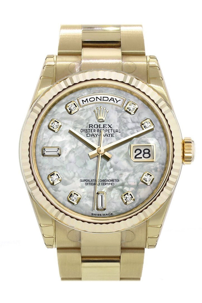Rolex Day-Date 36 White mother of pearl set with diamonds Dial Fluted Bezel Yellow Gold Watch 118238