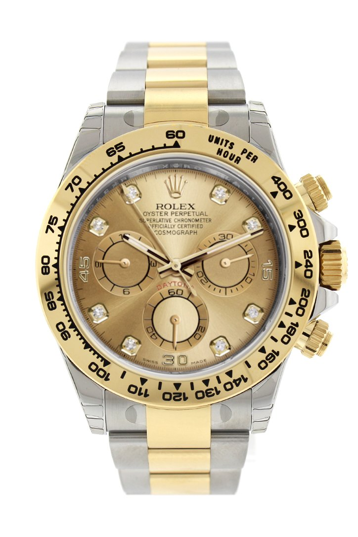 Rolex Cosmograph Daytona Champagne Diamond Dial Steel 18K Yellow Gold Mens Watch 116503