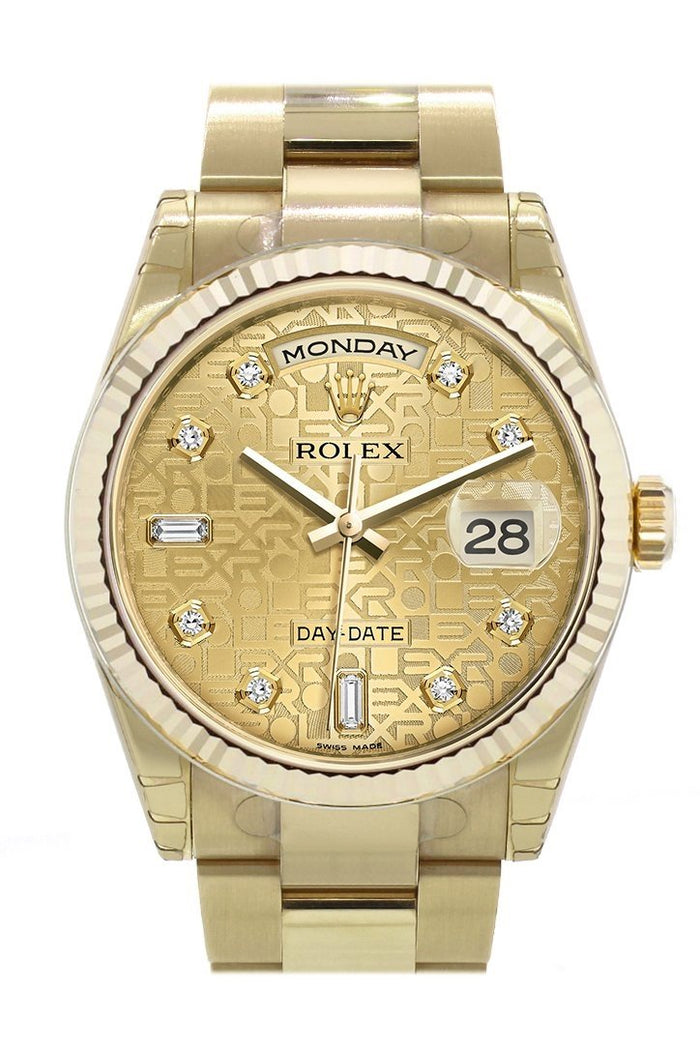 Rolex Day-Date 36 Champagne-colour Jubilee design set with diamonds Dial Fluted Bezel Yellow Gold Watch 118238