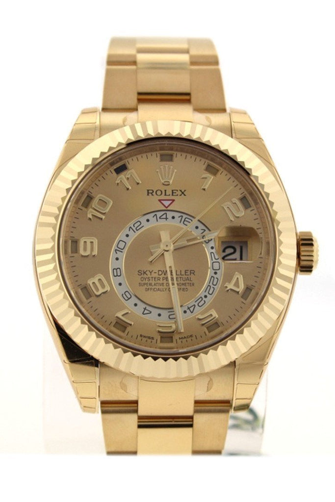 Rolex Sky-Dweller 42 Champagne Arabic Dial Yellow Gold Mens Watch 326938 / None