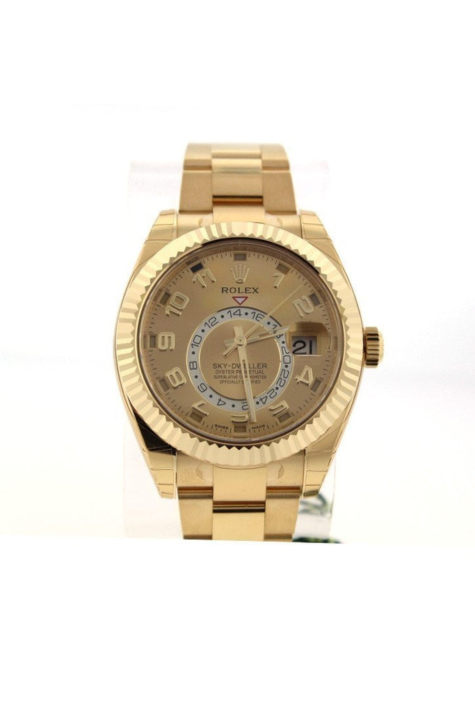 Rolex Sky-Dweller 42 Champagne Arabic Dial Yellow Gold Mens Watch 326938