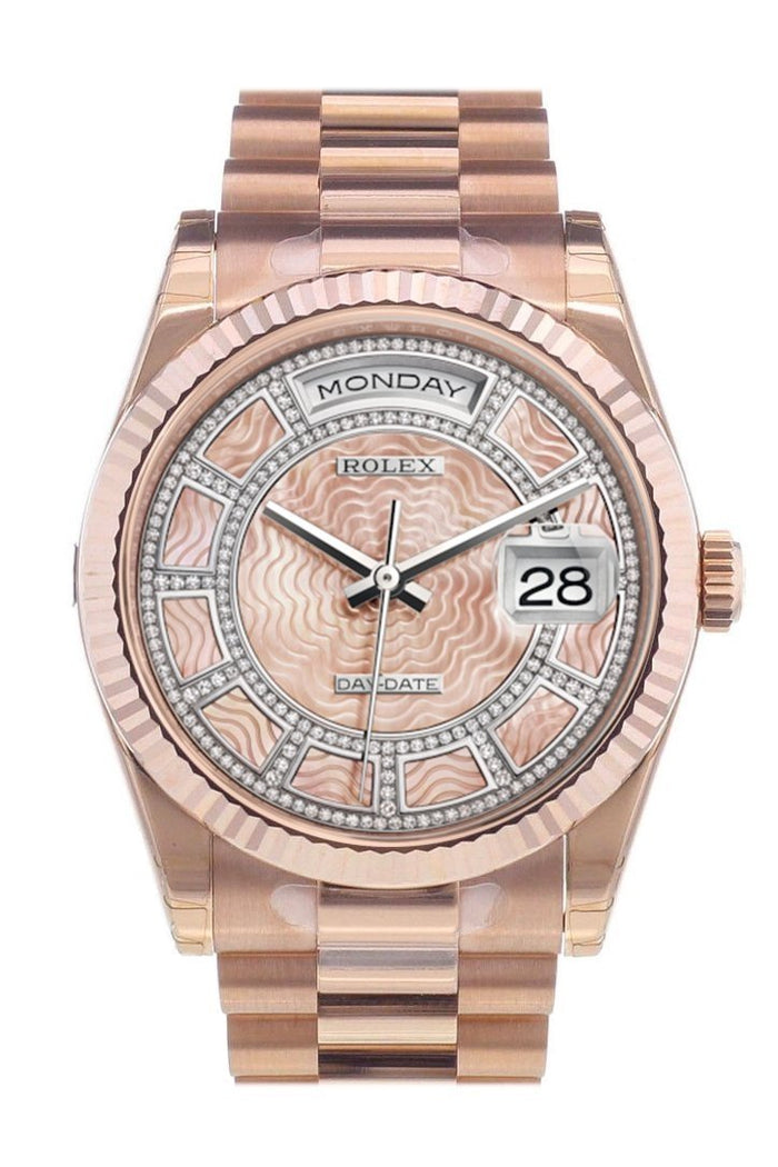 Rolex Day-Date 36 Carousel of pink mother-of-pearl Dial Fluted Bezel President Everose Gold Watch 118235