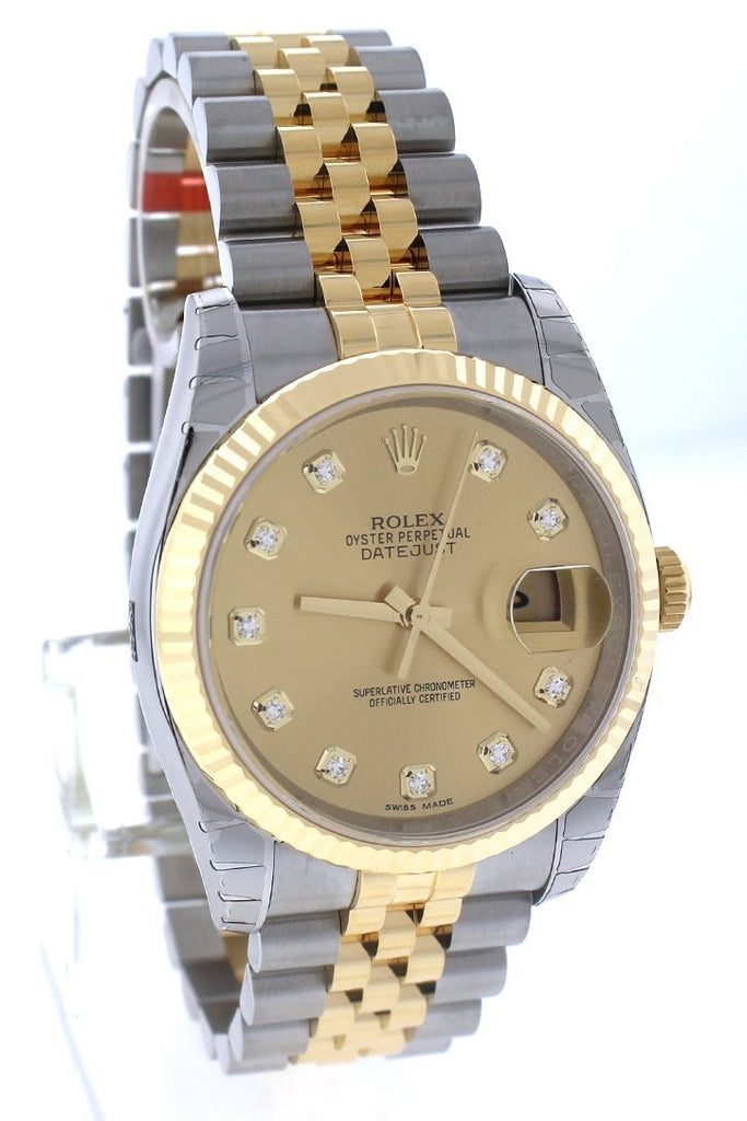 ROLEX Datejust 36 Champagne Diamond Dial Fluted Watch 116233