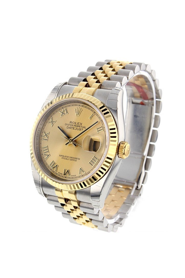 Rolex Datejust 36 Champagne Roman Dial Fluted 18K Gold Two Tone Jubilee Watch 116233
