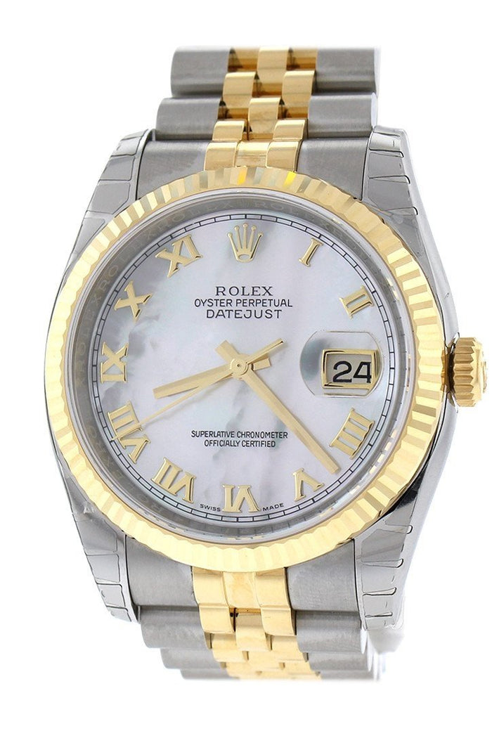 WatchGuyNYC_RN066_ROLEX_Datejust_36mm_Mother_of_Pearl_Roman_Dial_Fluted_Jubilee_Mens_WAtch_116233