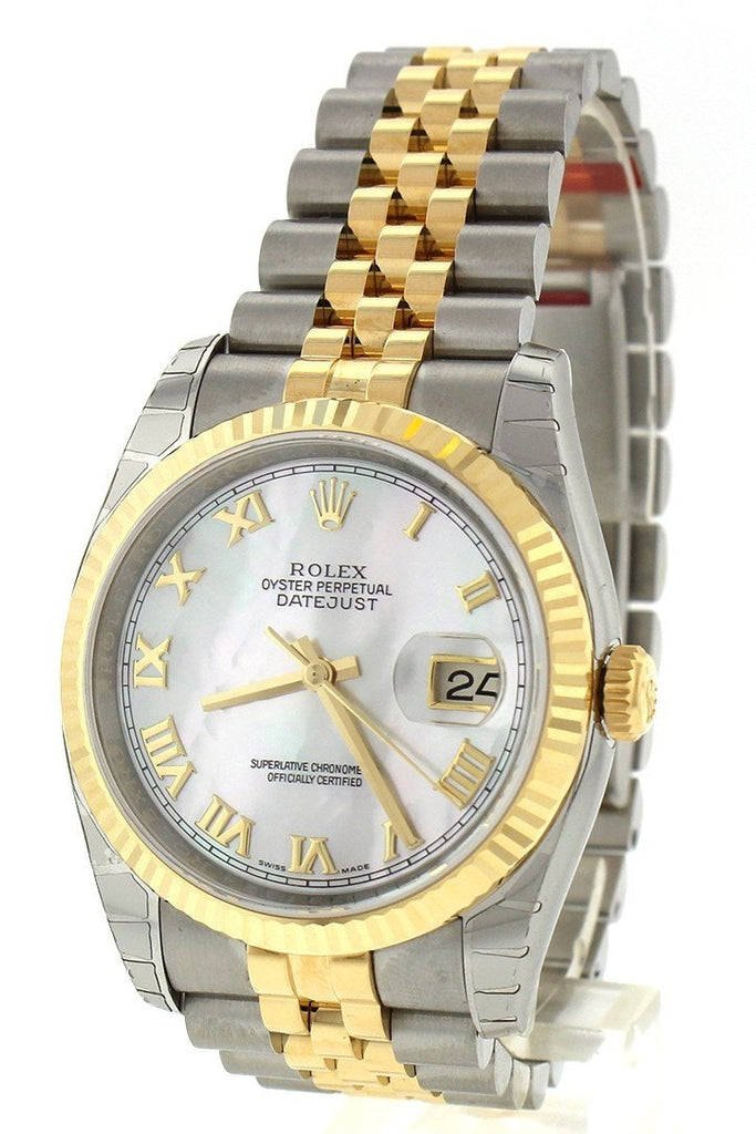 Rolex Datejust 36 White Mother-Of-Pearl Roman Dial Fluted 18K Gold Two Tone Jubilee Watch 116233