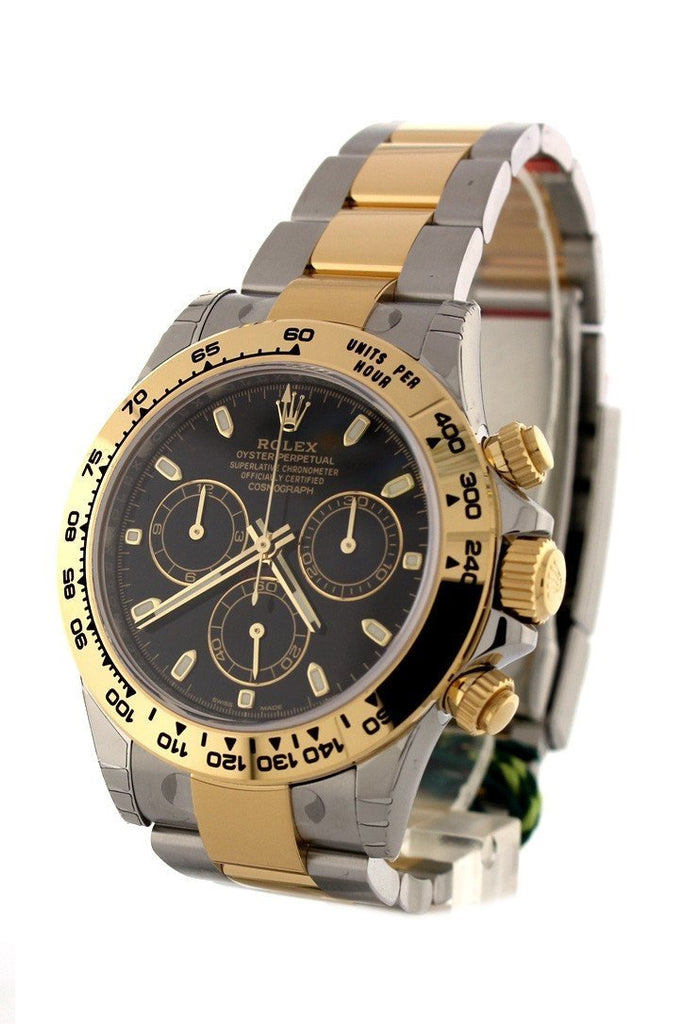 Rolex Cosmograph Daytona Black Dial Gold And Steel Mens Watch 116503