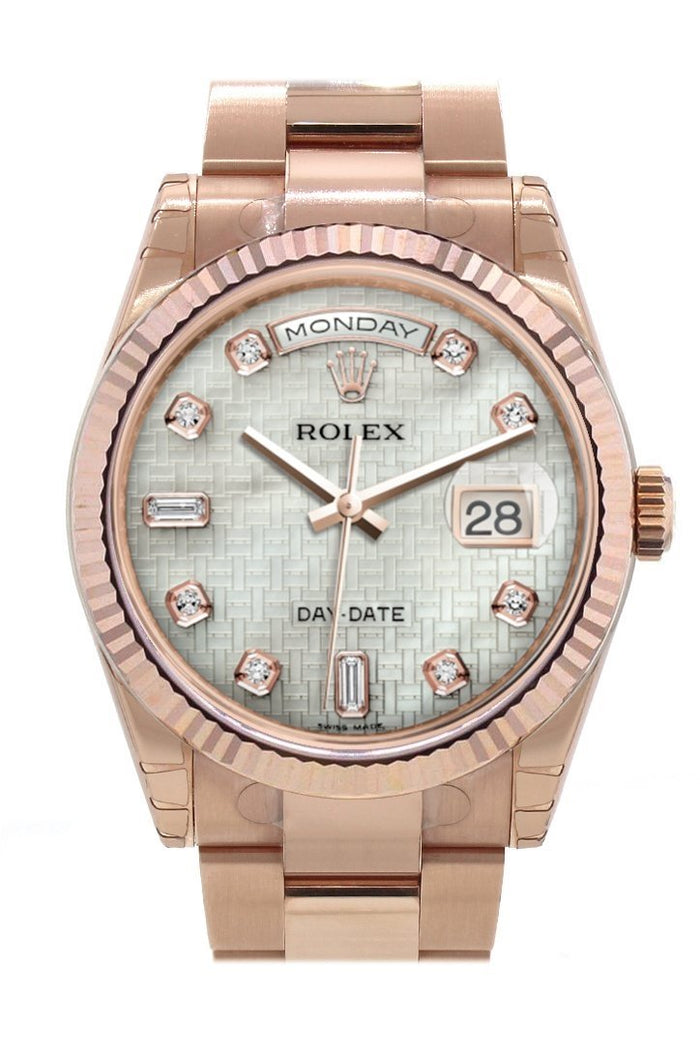 Rolex Day-Date 36 White mother-of-pearl with oxford motif set with diamonds Dial Fluted Bezel Oyster Everose Gold Watch 118235