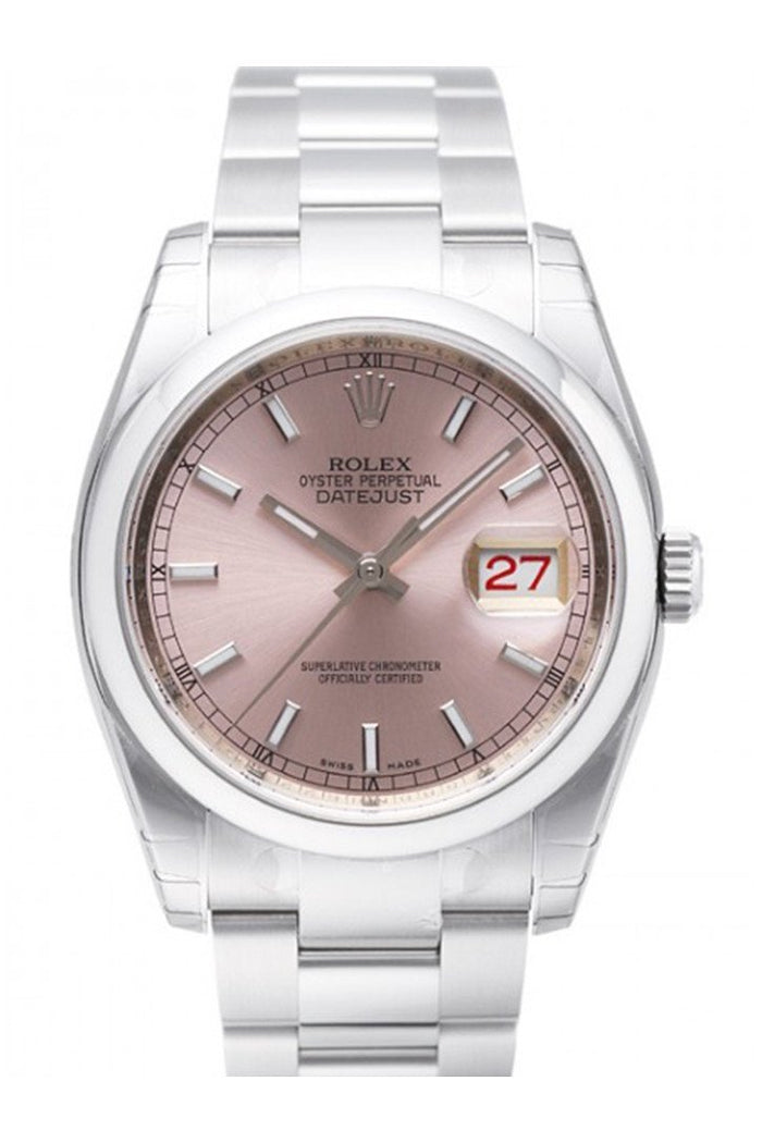 ROLEX Datejust 36 Smooth Pink Dial Stainless Steel Watch 116200
