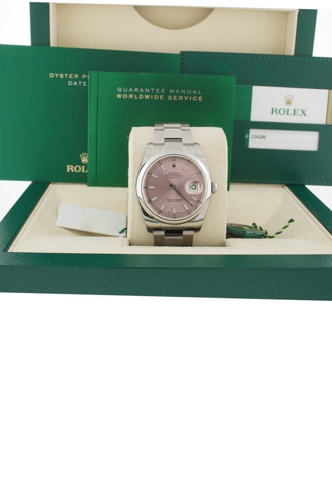 ROLEX 116200 Datejust 36 Smooth Pink Dial Stainless Steel Watch | WatchGuyNYC