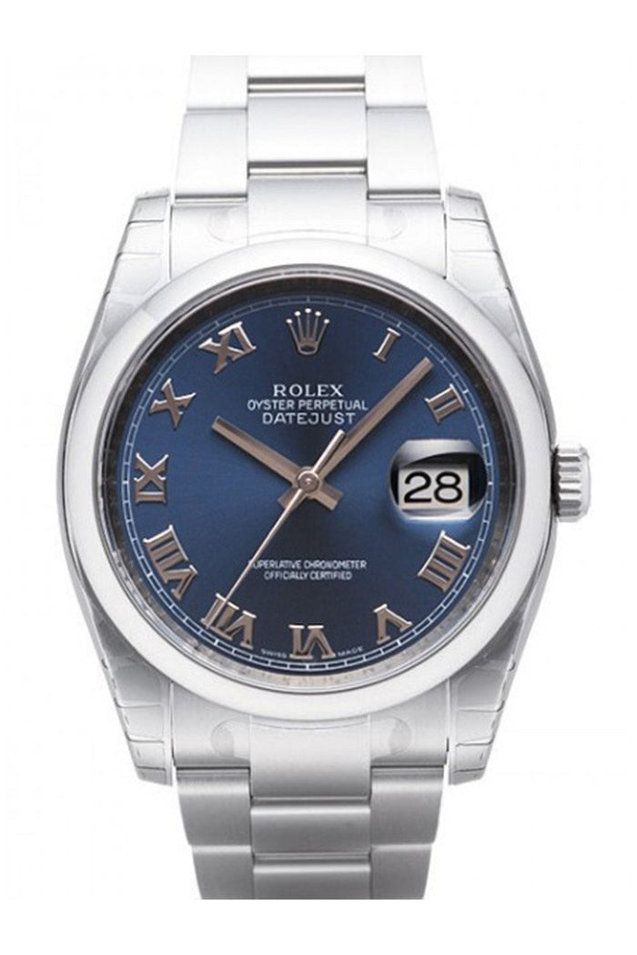 ROLEX Datejust 36 Blue Roman Dial Stainless Steel Watch 116200