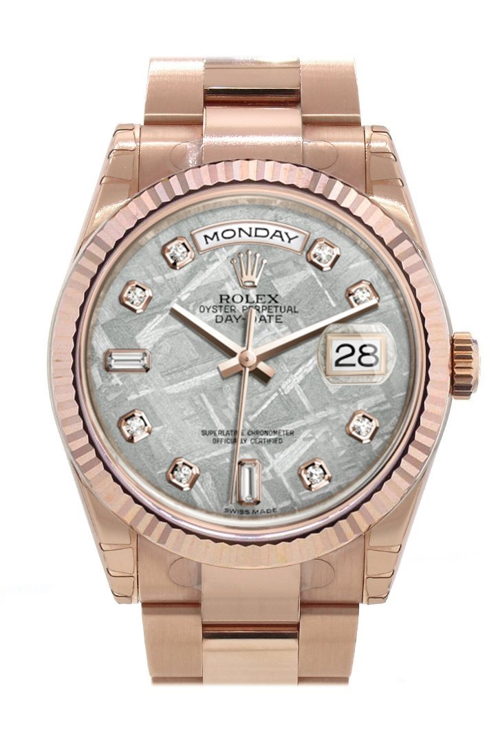 Rolex Day-Date 36 Meteorite Set With Diamonds Dial Fluted Bezel Oyster Everose Gold Watch 118235
