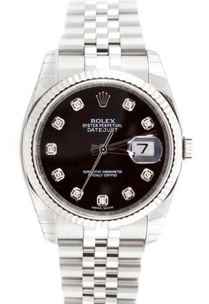 Rolex Datejust 36 Black Diamond Dial White Gold Stainless Steel Mens Watch 116234