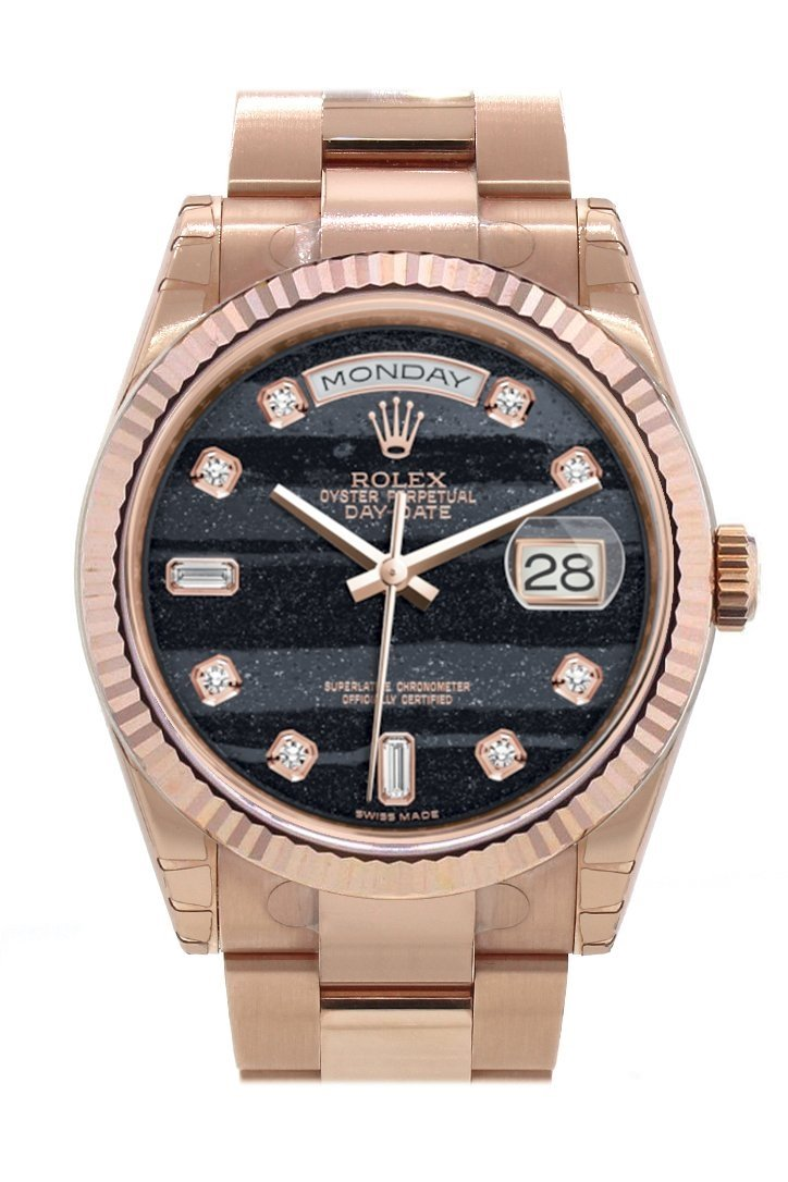 Rolex Day-Date 36 Ferrite Set With Diamonds Dial Fluted Bezel Oyster Everose Gold Watch 118235