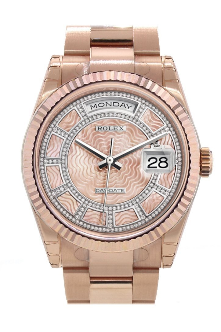 Rolex Day-Date 36 Carousel Of Pink Mother-Of-Pearl Dial Fluted Bezel Oyster Everose Gold Watch