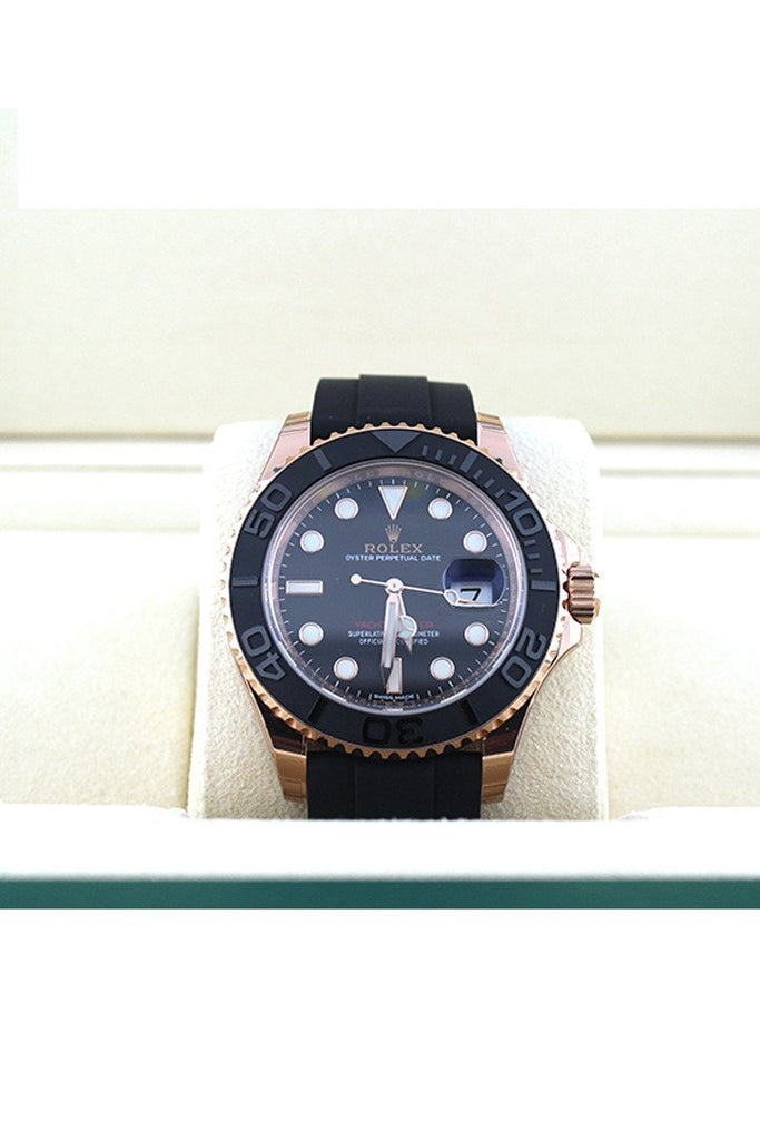 ROLEX 116655 YACHT-MASTER 40 Black Dial 18k Rose Gold Mens Watch | WatchGuyNYC