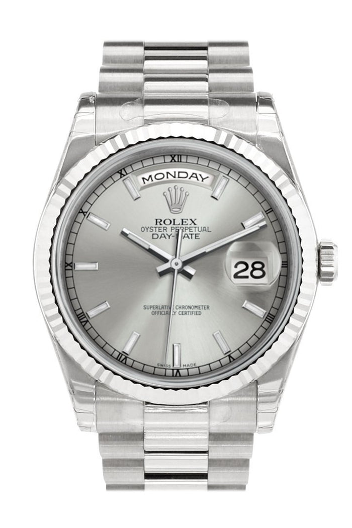 Rolex Day-Date 36 Silver Dial Fluted Bezel President White Gold Watch 118239Rolex Day-Date 36 Silver Dial Fluted Bezel President White Gold Watch 118239
