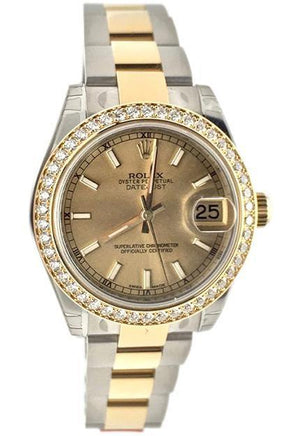 Rolex Datejust 31 Champagne Dial 18K Yellow Gold Ladies Watch 178383 / None