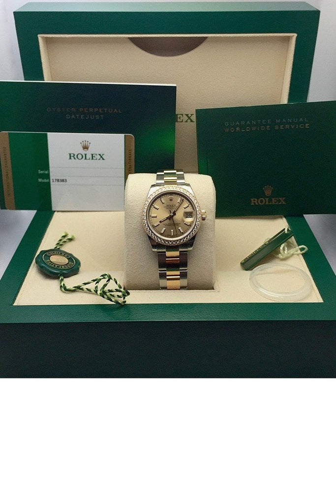 Rolex Datejust 31 Champagne Dial 18K Yellow Gold Ladies Watch 178383