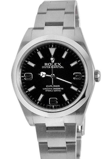 Rolex Explorer I 1 Black Dial Steel Mens Watch 214270