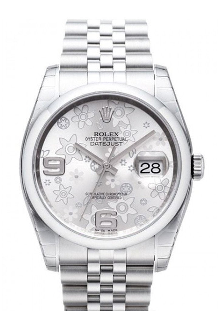 Rolex Datejust 36 Silver Floral Motif 2 Arab Dial Jubilee Mens Watch 116200 / None