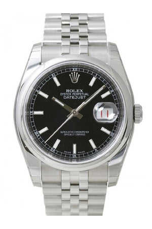 Rolex Datejust 36 Black Dial Steel Jubilee Mens Watch 116200 / None