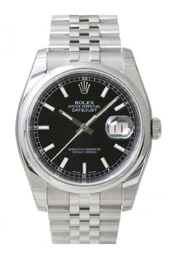 ROLEX 116200 Datejust 36 Black Roman Dial Steel Mens Watch | WatchGuyNYC