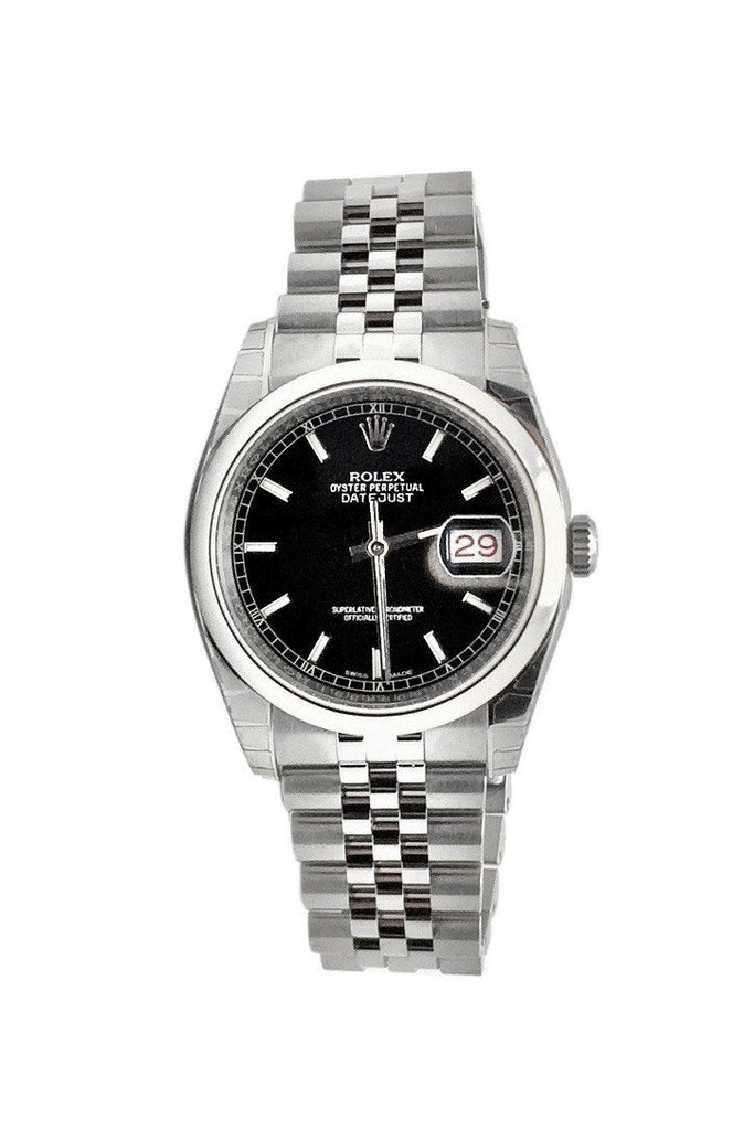 Rolex Datejust 36 Black Dial Steel Jubilee Mens Watch 116200