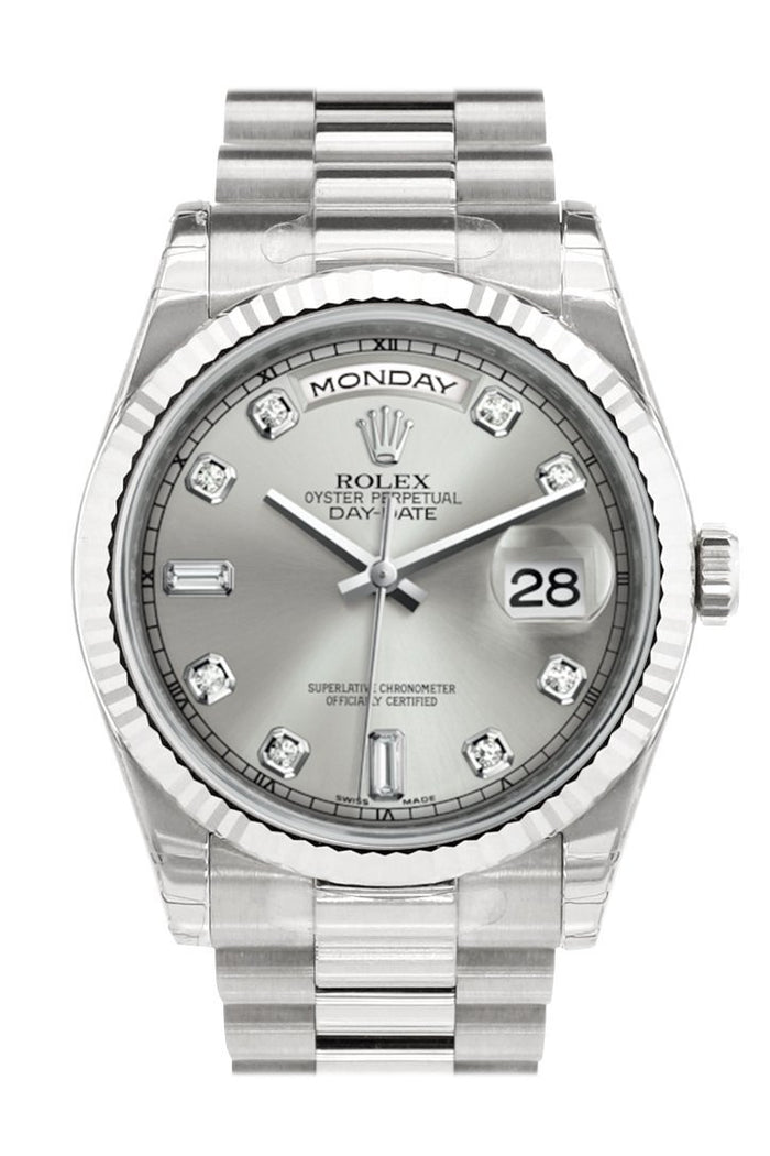 Rolex Day-Date 36 Silver set with Diamonds Dial Fluted Bezel President White Gold Watch 118239
