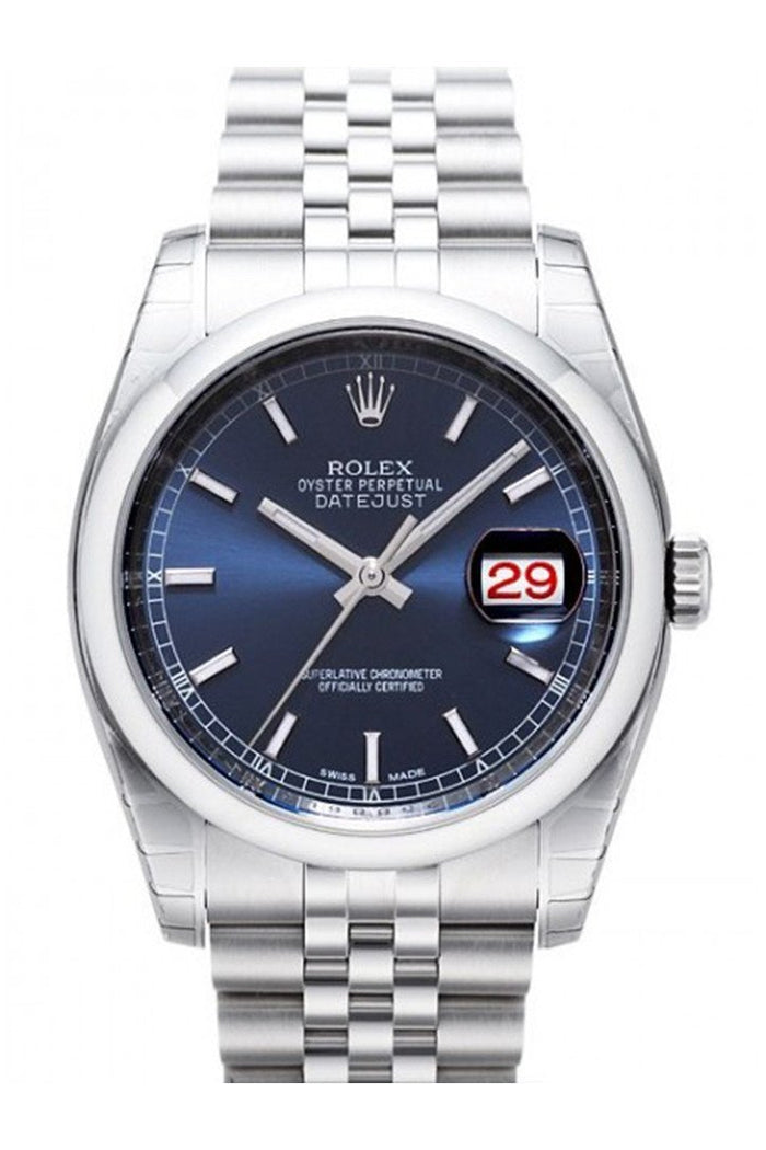 ROLEX 116200 Datejust 36 Blue Dial Steel Mens Watch | WatchGuyNYC