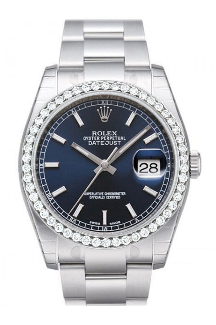 Custom Diamond Bezel Rolex Datejust 36 Blue Dial Stainless Steel Jubilee Men's Watch 116200