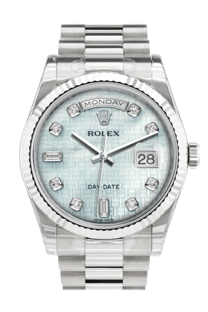 Rolex Day-Date 36 Platinum mother-of-pearl with oxford motif set with Diamonds Dial Fluted Bezel President White Gold Watch 118239