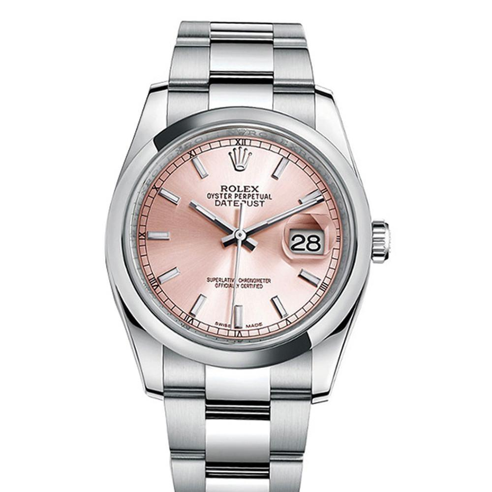 ROLEX 116200 Datejust 36 Pink Dial Steel Mens Watch | WatchGuyNYC