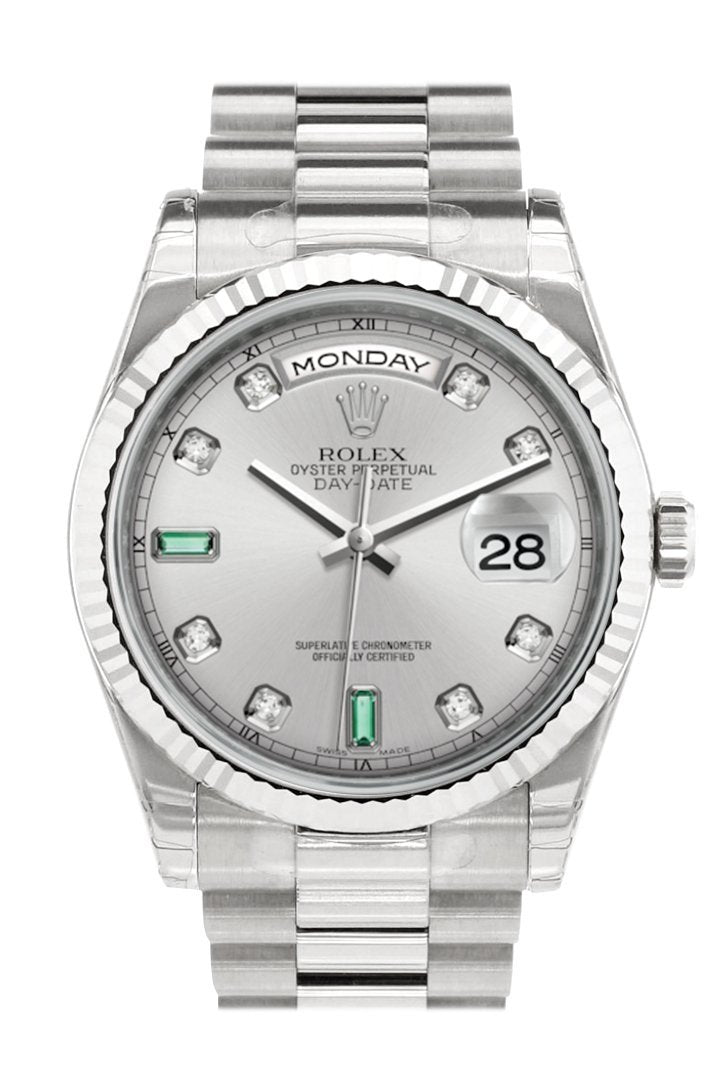 Rolex Day-Date 36 Rhodium Set With Diamonds And Emeralds Dial Fluted Bezel President White Gold