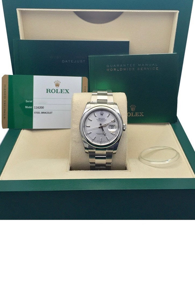 ROLEX 116200 Datejust 36 Silver Index Dial Steel Mens Watch | WatchGuyNYC